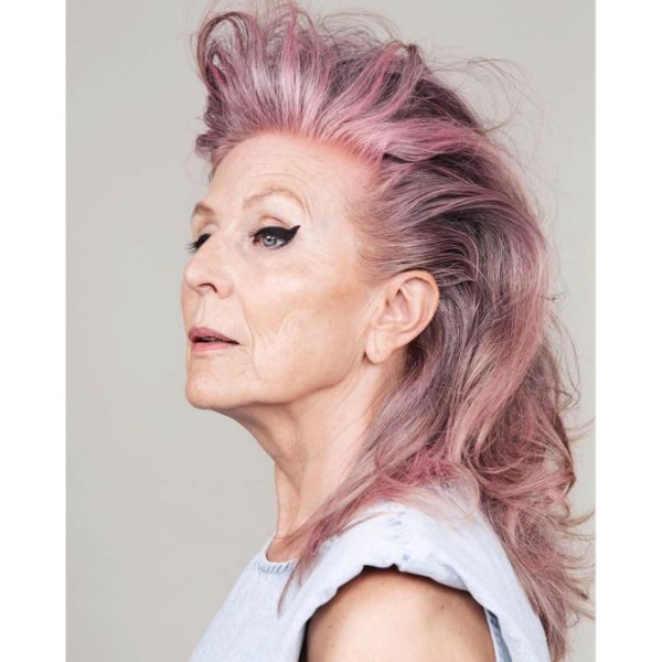Cool Faux Mohawk for Silver Pink Hair with Layered Haircut