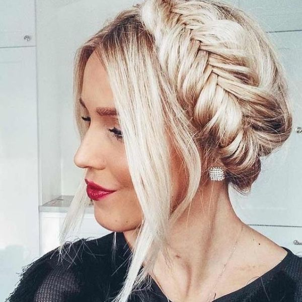 Crown Fishtail for Long Blonde Layered Hair with Free Falling Bangs
