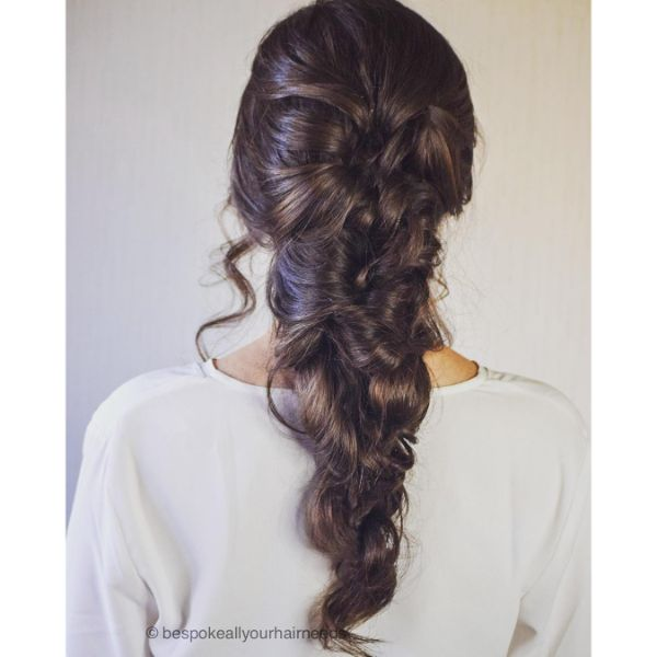 Curly Messy Bridal Updo with Ponytail for Long Hair