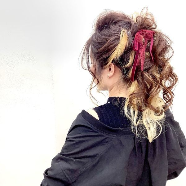 Curly Messy Updo with Ponytail and Colorful Hair Accessories