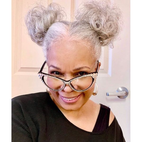 Curly Messy White Space Buns Long Hairstyle for Older Women