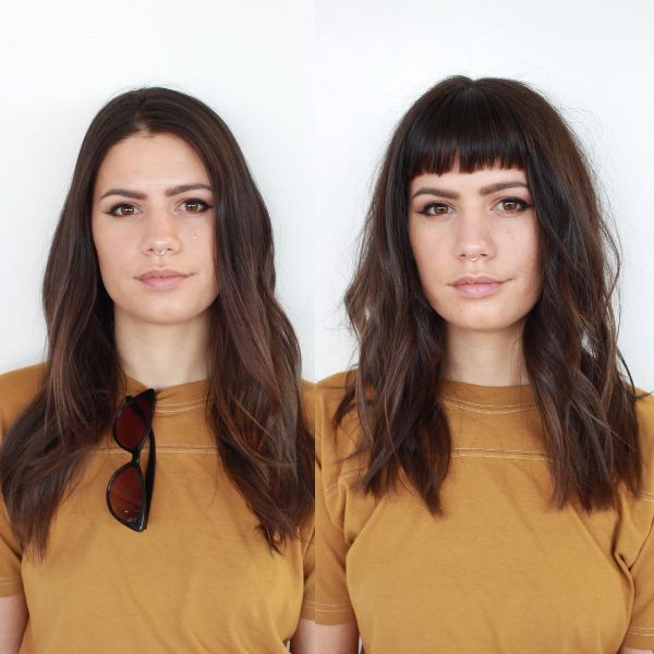 Dark Chocolate Colored Layers Hairstyle with Straight-Cut Bangs