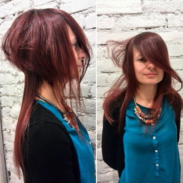 Disconnected Layered Hairstyle with Messy and Long Bangs for Red Hair