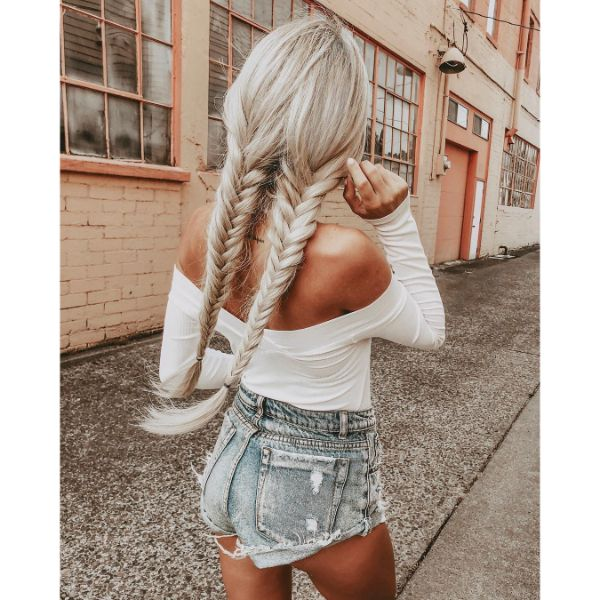Double Back Fishtails for Long Blonde Hair