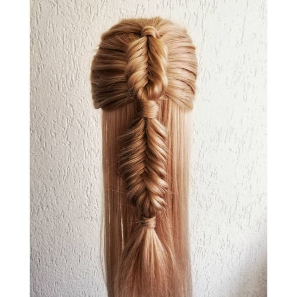 Dutch Fishbone Braided Hairstyle for Long Blonde Hair