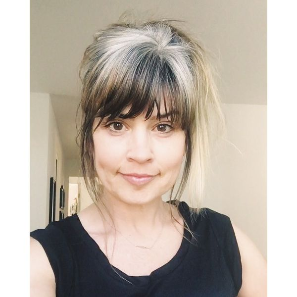 Dye Free Updo with Long Bangs and Sideburns Hairstyle