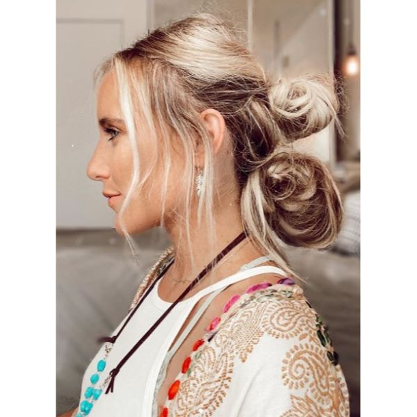 Easy Messy Double Buns for Long Blonde Hair