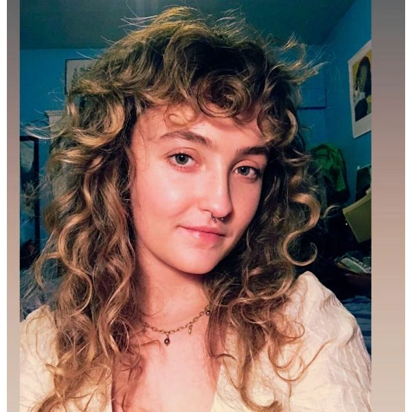 Extra Curly Long Shag Hairstyle with Curly Bangs for Balayage