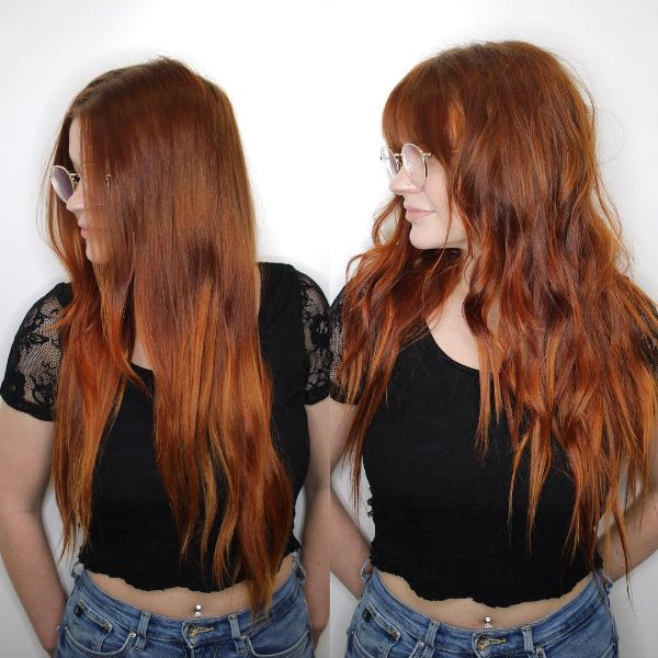 Extra Long Shag Haircut for Red Hair with Face Framing Bangs
