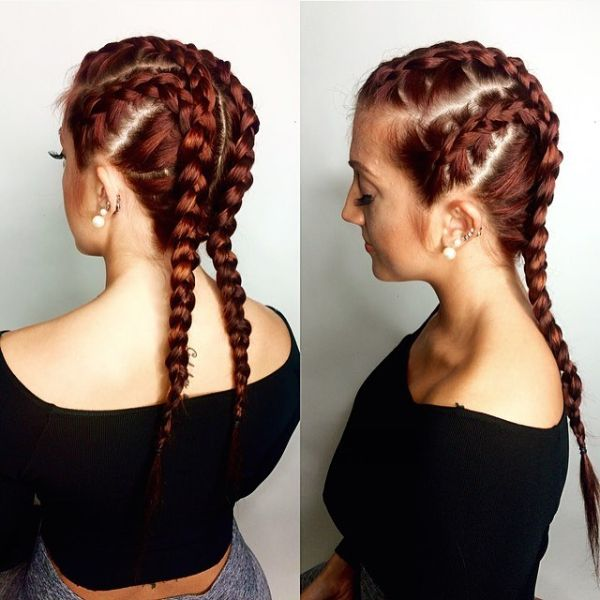 Feed-in Braids for Red Long Layered Hair