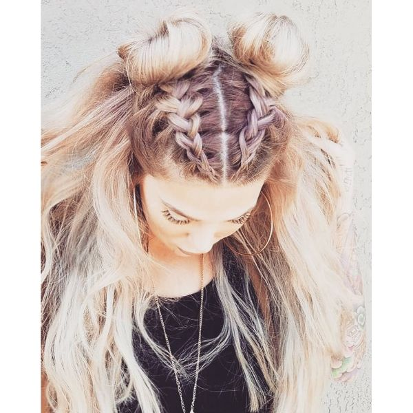 Feed-in Braids with Space Buns for Messy Blonde Hair