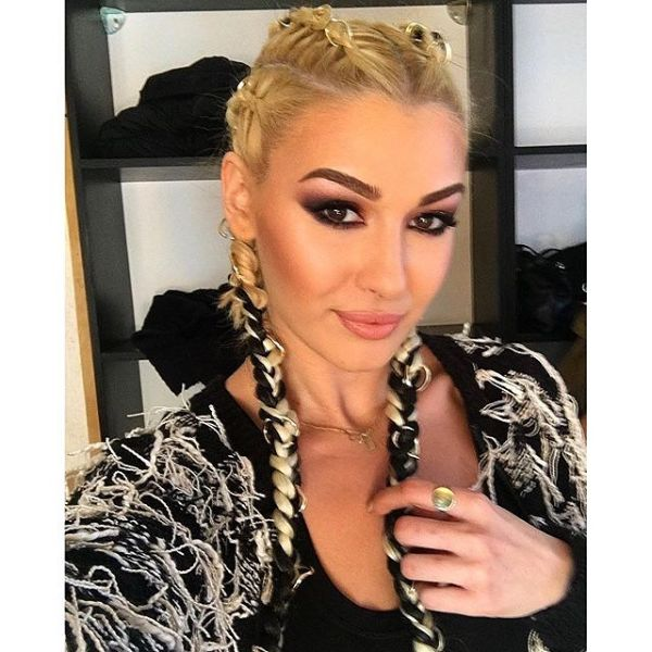 Feed-in Cornrows with Contrasting Color Extensions for Blonde Hair
