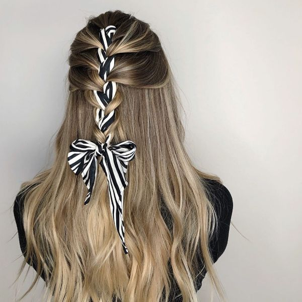 French Braid with Woven Ribbon