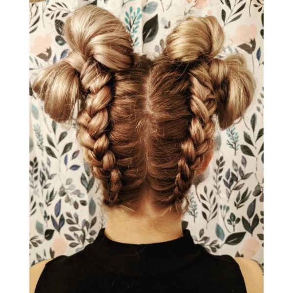 French Style Braided Space Buns with Ribbons
