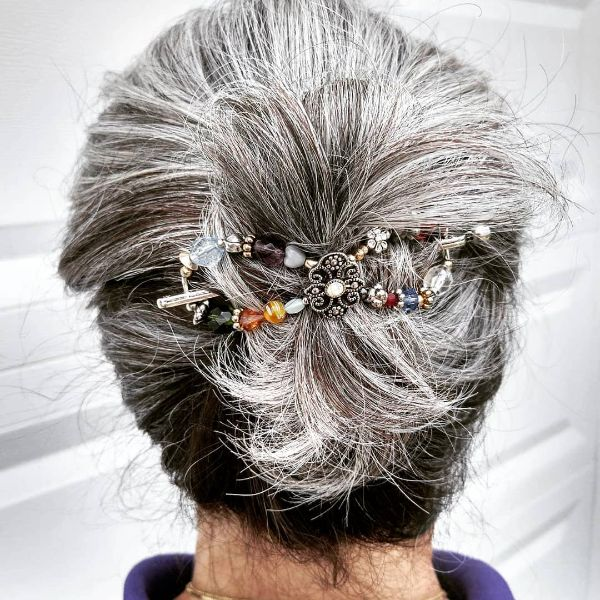 Grey Hair Back Knot with Elegant Flexi Clip Hairstyle