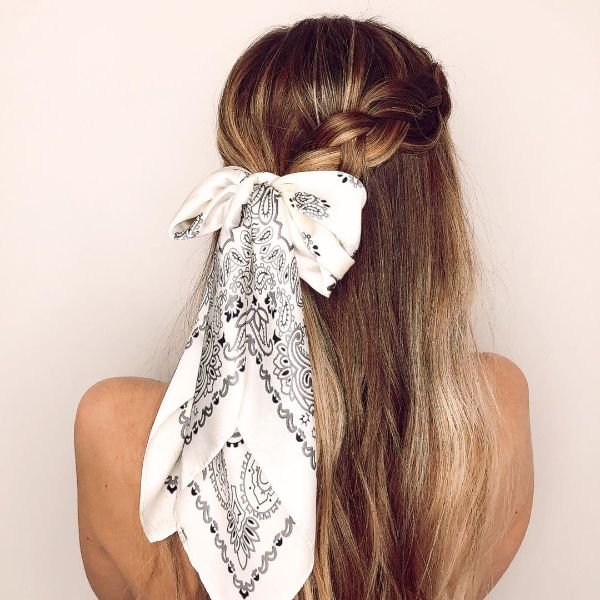 Half Dutch Braids with Hair Scarf