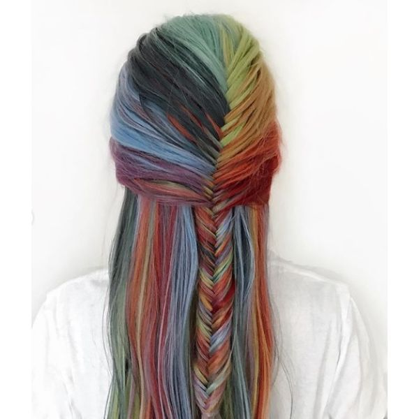 Half Fishtail Braid for Long Multicolored Hair