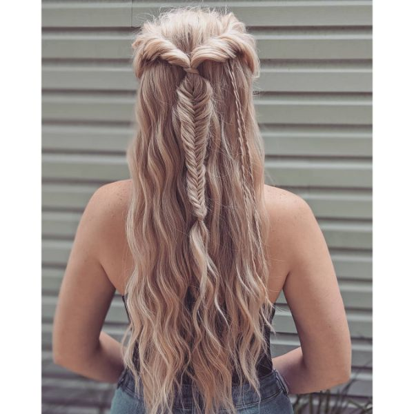 Half Fishtail with Small Side Plaits for Long Wavy Blonde Hair