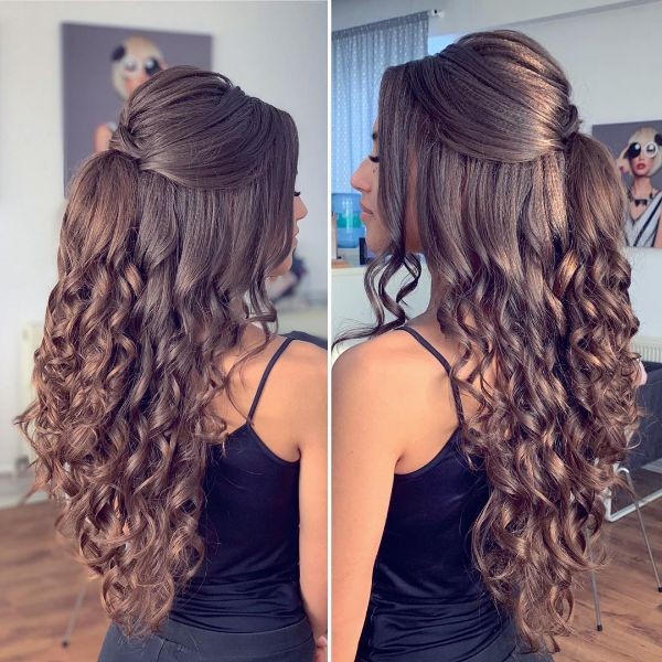 Half Up Half Down Hairstyle for Curly Chocolate Brown Layered Hair with Bangs