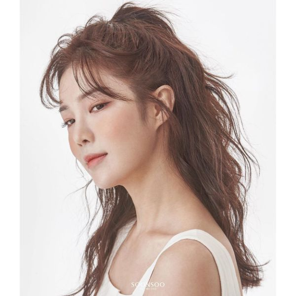 Half Up-do for Choppy Long Layered Hair with Bangs