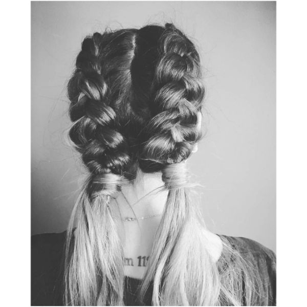 Half-braided Pigtails for Blonde Hair
