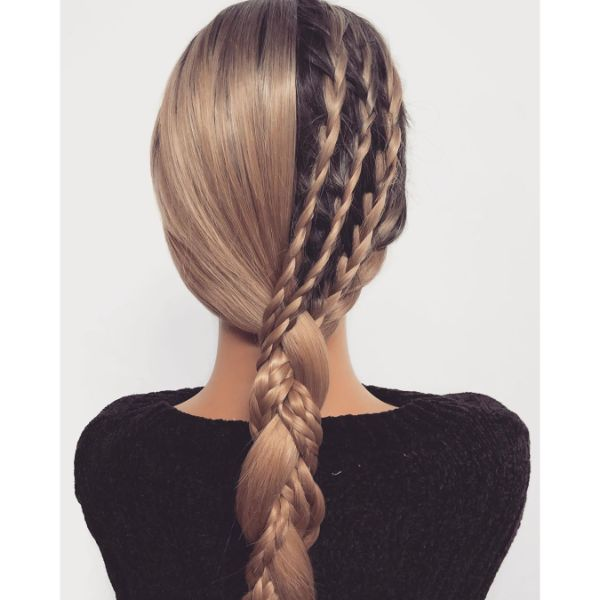 Half-free Half braided Long Hair with Low Ponytail