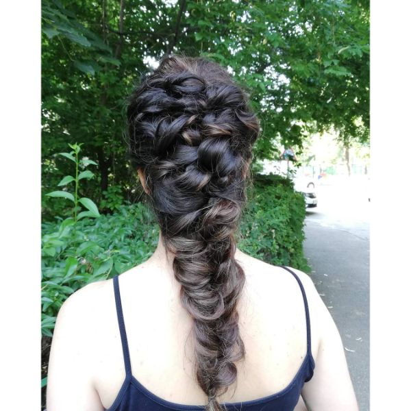 High Mermaid Braided Hairstyle for Long Dark Hair