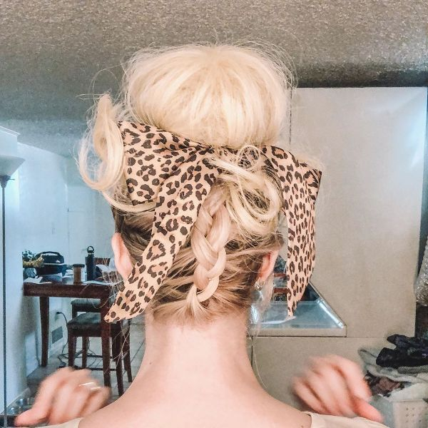 High Messy Bun with Back Feed-in Braid and Headscarf