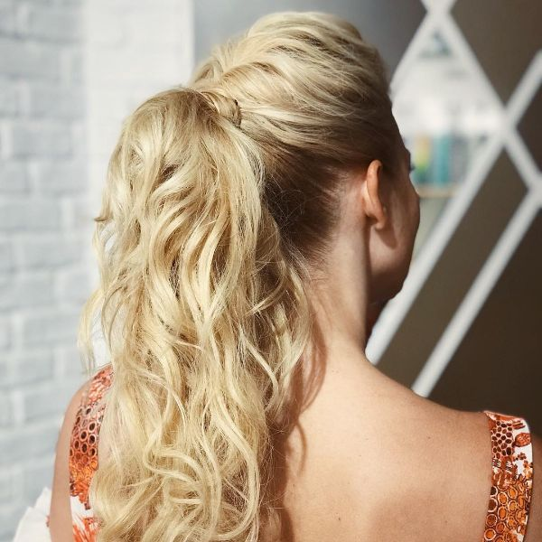 High Messy Updo with Half Braid and Half Ponytail For Long Blonde Hair