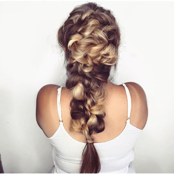 High and Thick Mermaid Braided Hairstyle for Balayage Hair