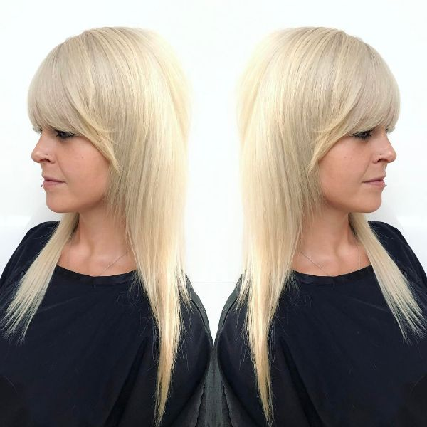 Ice Nordic Blonde Shaggy Layered Hair with Heavy Bangs