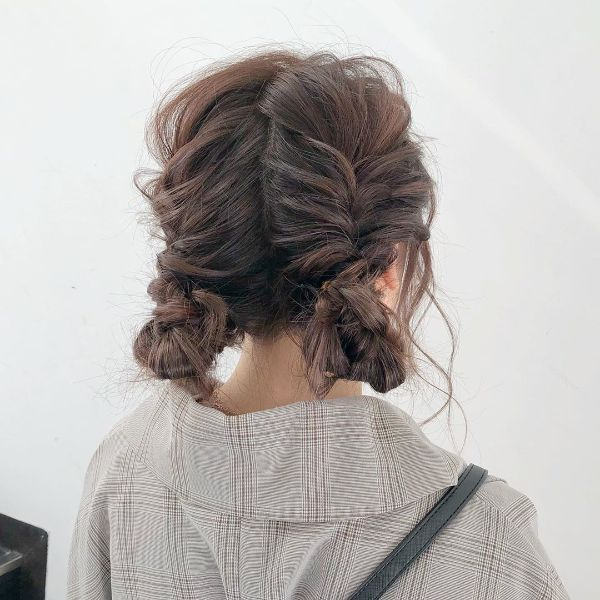 Knotted Double Fishtails for Messy Hair