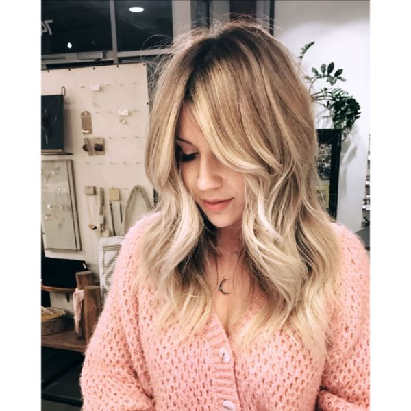 Long Bangs and Wavy Layers for Blonde Hair