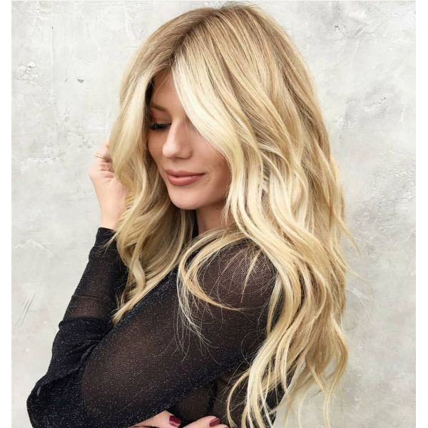 Long Layered Blonde Hair with Lighter Front Part