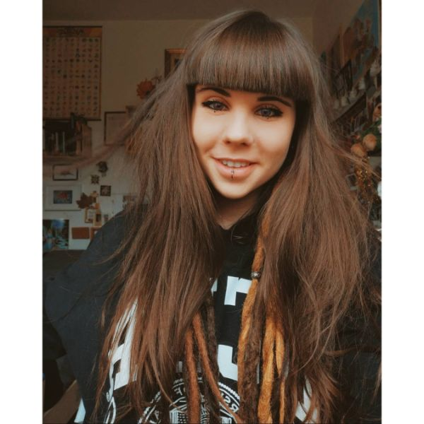Long Shaggy Straight Brunette Hair with Heavy Bangs