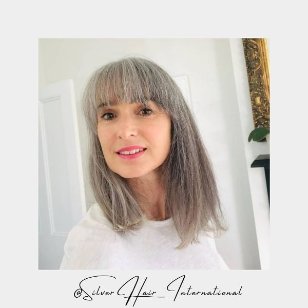 Long Straight Silver Hair with Straight Cut Bangs