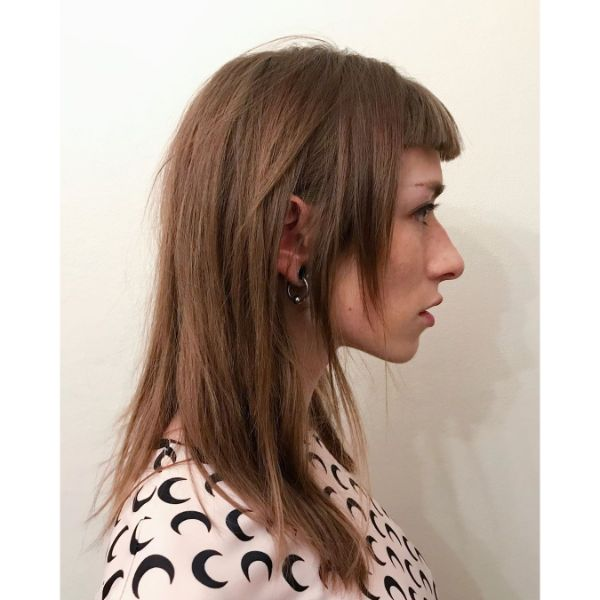 Long Straightened Layered Haircut with Straight Short Bangs