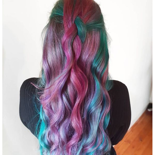 Loose Back Braid for Rainbow Colored Long Layered Hair