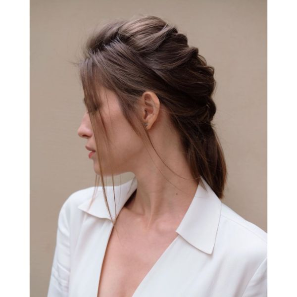 Loose French Braid with Free Falling Bangs