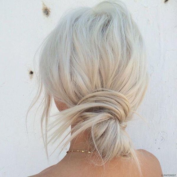 Low Simple Messy Knot for Blonde Hair