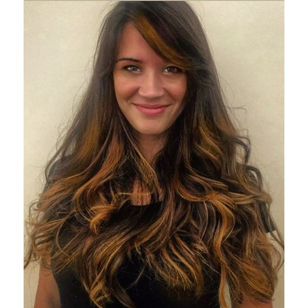 Luscious Extra Long Layered Hairstyle with Face Framing Bangs