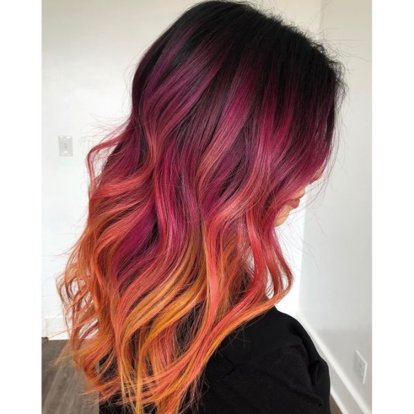 Magenta Ombre for Long Wavy Layered Hairstyle
