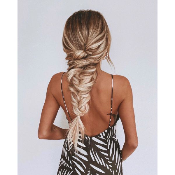 Mermaid Tail Braided Hairstyle for Long Hair