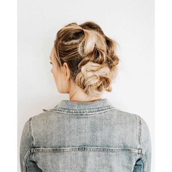 Messy Braided Bun for Long Balayage Hair