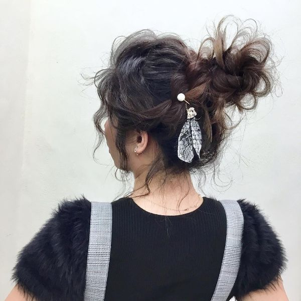 Messy Braided Bun with Hair Accesory