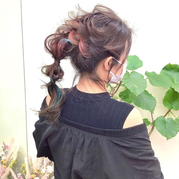 Messy Colorful Updo with Twisted Ponytail