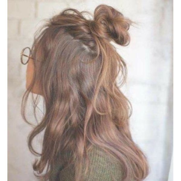 Messy Half-Bun for Long Dark Hair