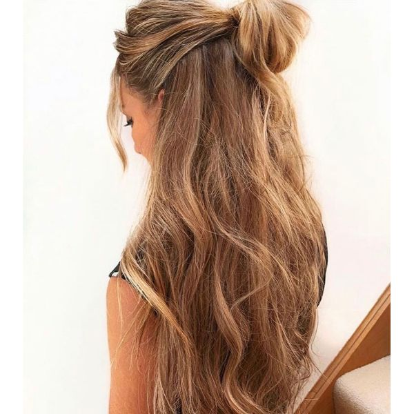 Messy Half Knot for Long Hair
