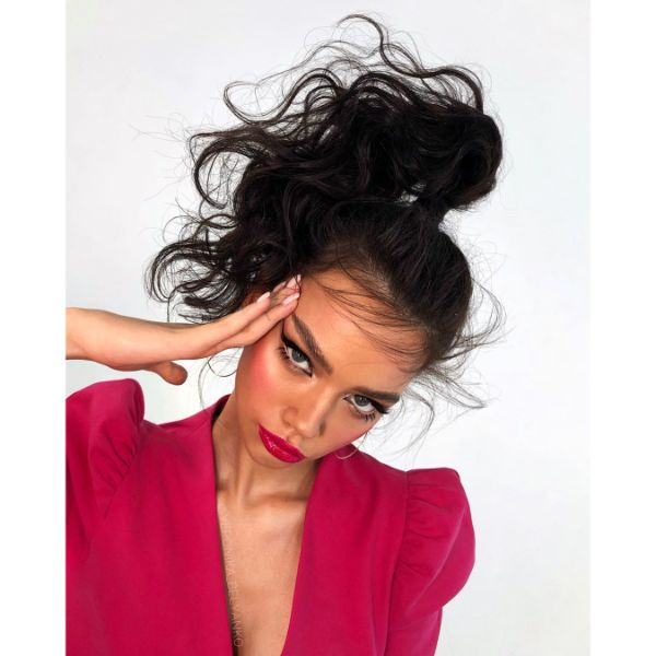 Messy High Ponytail with Negligent Styling