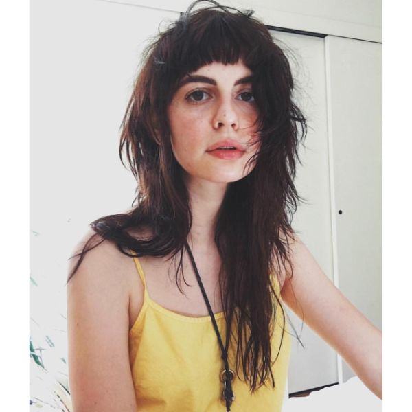 Messy Long Layered Hairstyle with Face Framing Bangs